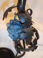 Bortartó -Kovácsoltvas + csiszolt üveg adagolóval - üveg szőlőfürt díszítéssel 52 x 26 x 17 cm - 1 l
