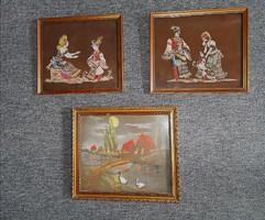 3 db selyemkép matyó magyar magyaros népi népies népművészeti