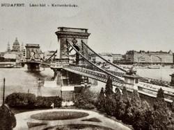 Régi képeslap Budapest 1923 Lánchíd híd üdvözlőlap