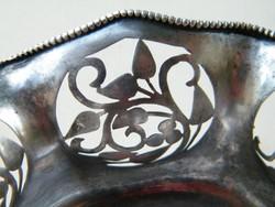 Szép, áttört szélű, virágos szecessziós ezüst tálak 2 db