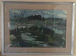 Zámbó Kornél (1938- ): Pecázók, tempera, papír, jelzett, paszpartuban, fa keretben, 56 X 75 cm
