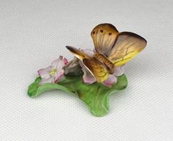 0U468 Régi virágos Herendi porcelán lepke pillangó