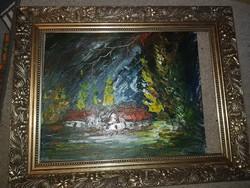 Erős László: Őszi tanya (viharok idején), olaj, festőkés, farost, 32x39 cm, keret nélküli akció