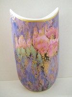 Különleges formájú, szép Kaiser Serenade virágos porcelán váza