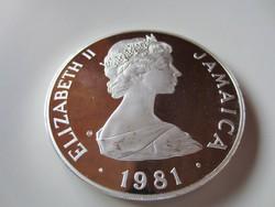 136gr ezüst befektetési ritka érme Jamaica 1981 Királyi esküvő Charles és Diana 0.925ag 25dollar