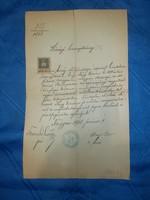 Régi papír községi bizonyítvány 1908