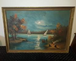 """""""Vitorlások"""" nagyméretű látványos olaj festmény, vásznon, kerettel: 75x105 cm"""