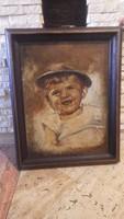 Jelzett olaj-vászon festmény gyermek portré