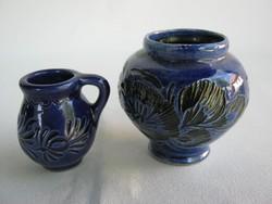Kék kerámia mini kancsó és váza