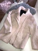 Zara valódi gyapjú baba rózsaszín púder meleg kabát M-L
