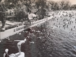 Régi képeslap Hajdúszoboszló strand 1965