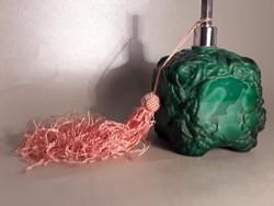 Macskakő nagyságú malachit üveg parfümös különleges ritka