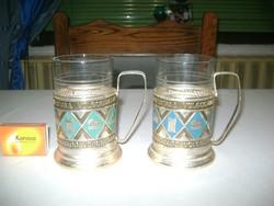 Orosz  pohártató pohárral szamovárhoz - két darab