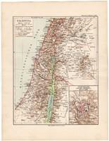 Palesztína térkép 1892, eredeti, Meyers atlasz, német nyelvű, Jeruzsálem, Közel - kelet, Ázsia