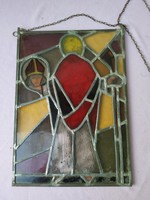 Tiffany jellegű üvegkép,  ólomüveg festmény, püspök ábrázolás