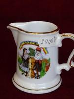 Francia LIMOGES porcelán tejkiöntő, Andorra látképpel, 6,5 cm magas.