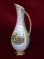Német Bavaria porcelán váza, kézi festésű, St. Wolfgang látképpel.