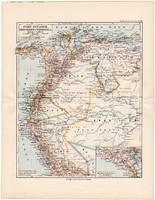 Dél - Amerika térkép 1892, eredeti, Meyers atlasz, német nyelvű, Peru, Ecuador, Kolumbia, Venezuela