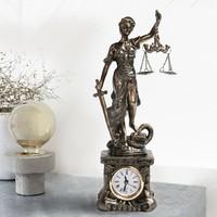 EXKLUZÍV LÁTVÁNYOS ANTIK TÍPUSÚ Justitia BRONZ BEV. SZOBOR KANDALLÓ és ASZTALI ÓRA, LUXUS AJÁNDÉK