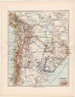 Dél - Amerika térkép 1892, eredeti, Meyers atlasz, német nyelvű, Argentína, Chile, Uruguay, Paraguay