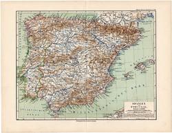 Spanyolország ls Portugália térkép 1892, eredeti, Meyers atlasz, német nyelvű, Ibériai - félsziget