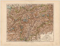 Tirol térkép 1892, eredeti, Meyers atlasz, német nyelvű, Ausztria, Hohe Tauern, hegy, Alpok