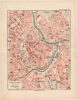 Bécs belváros térkép 1892, eredeti, Meyers atlasz, német nyelvű, Osztrák - Magyar Monarchia, főváros