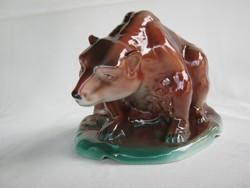 Jelzett porcelán barna medve