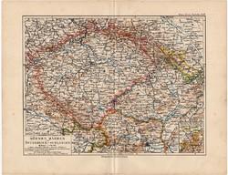 Csehország, Morvaország, Szilézia térkép 1892, eredeti, Meyers atlasz, német ny., monarchia, osztrák