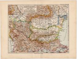 Románia és Bulgária térkép 1892, eredeti, Meyers atlasz, német ny., Szerbia, Montenegro, monarchia