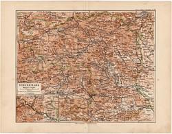 Stájerország térkép 1892, eredeti, Meyers atlasz, német nyelvű, Ausztria, Graz, Steiermark