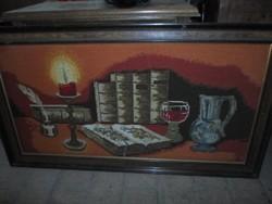 Nagy gobelin kép modern keretben, hibátlan: íróasztal, vörösbor