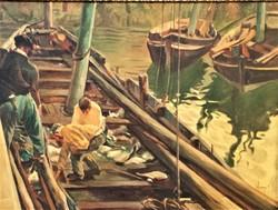 Abonyi Ernő (1884 - 1941) Halászok c. olajfestménye 100x80cm EREDETI GARANCIÁVAL !