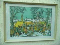 Gácsi Mihály Nagyon Ritka színes linómetszete  Téli vásár