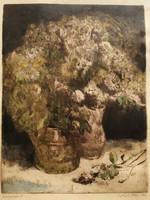 Virágcsendélet antik jelzett rézkarc