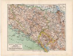 Bosznia és Montenegró térkép 1892, eredeti, Meyers atlasz, német ny., Balkán, Szerbia, Hercegovina