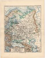 Oroszország (európai rész) térkép 1892, eredeti, Meyers atlasz, német nyelvű, Skandinávia, Moszkva