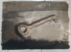 Borsos Miklós - Kulcs 29 x 40 cm lavírozott tus, papír