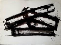 Borsos Miklós - Szoborterv 50 x 65 cm lavírozott tus, papír