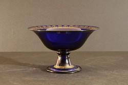 Carl Rehm Art Deco Üveg Talpas Kínálótál 1920. Kobaltkék Tál Arany Díszítéssel Hibátlan 13,5x8,5cm