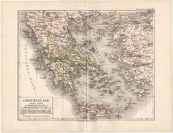 Görögország térkép 1892, eredeti, Meyers atlasz, német ny., Kréta, sziget, Rodosz, Kis - Ázsia