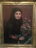 Áldor János László - Sokac menyecske virágcsokorral