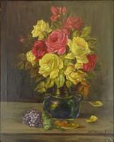 0Y220 Magyar festő XX. század : Rózsás csendélet
