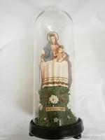 Antik relikvia viaszból Mária gyermek Jézussal  üvegbúra alatt 1800 vége