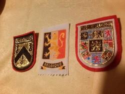 3 db felvarrható retró belga szuvenír címer: Belgium, Oostende