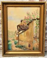 Tibai Takács Jenő (1876 - 1943) Tabán Holdvilág utca 1927 c festménye EREDETI GARANCIÁVAL !!