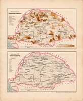 Magyarország iparágai és bányászata térkép (ek) 1898, magyar történelmi atlasz, magyar nyelvű, régi
