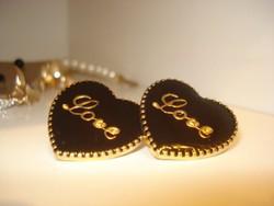 Divat ékszer fekete szív fülbevaló strasszokkal díszítve arannyal töltött Gold filled elegáns