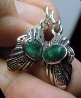 925 ezüst fülbevaló smaragddal