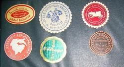 6 db antik címke, pecsétbélyeg, levélzáró köztük Hofher Kispest Goldberger Abdul Rahman